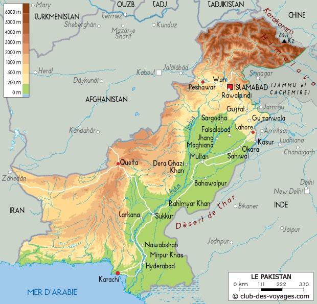 carte du pakistan - Image