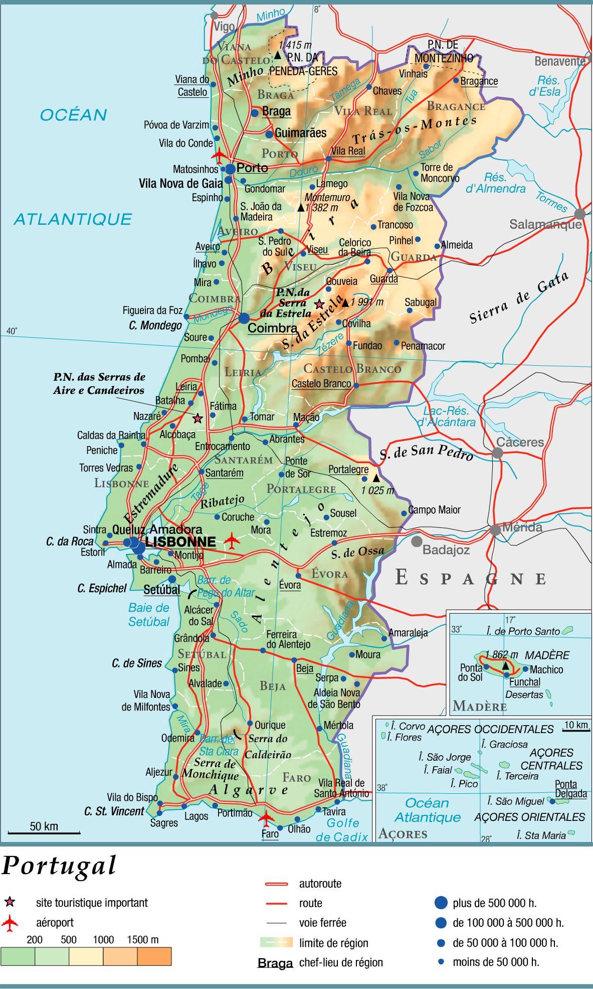 Carte Du Portugal Avec Les Villes | tonaartsenfotografie