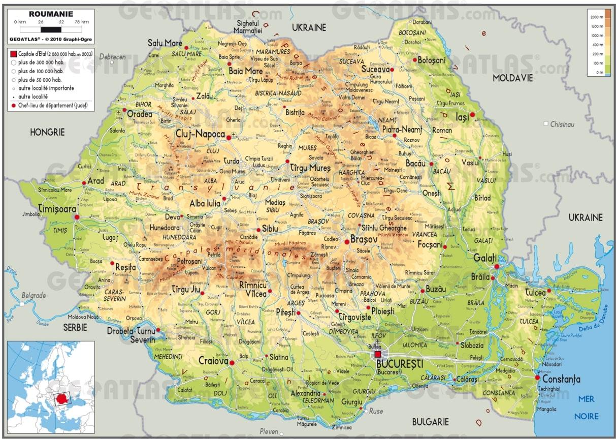 Cartograf.fr : Carte de la Roumanie
