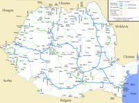 Carte de la Roumanie avec les chemins de fer