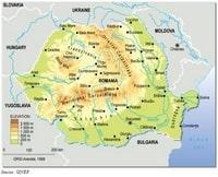 Carte Roumanie avec le relief, les villes et l'altitude en mètre