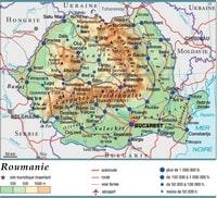 Carte de la Roumanie avec les routes, les autoroutes et les sites touristiques
