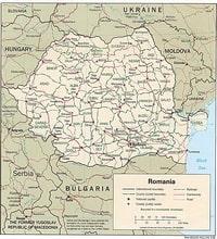Carte de la Roumanie avec les routes, les chemins de fer et les judet