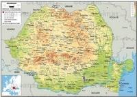 Carte de la Roumanie avec la taille des villes, le relief, l'altitude, les routes et la localisation en Europe