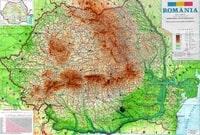 Carte topographique de la Roumanie avec le relief et l'altitude en mètre