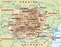 Carte de la Roumanie avec les villes, les aéroports, les ports, les routes et les sites historiques