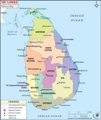 Carte du Sri Lanka politique avec les régions, les villes et le détroit de Palk