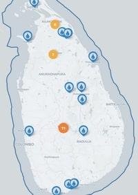 Carte du Sri Lanka avec les fontaines d'eau potable