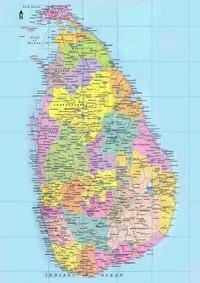 Carte du Sri Lanka, grande carte avec les villes, les villages, les routes, les chemins de fer et les lacs