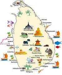 Carte du Sri Lanka avec des illustrations des sites touristiques