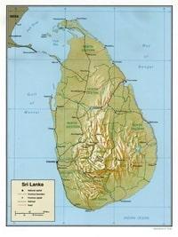 Carte du Sri Lanka avec les régions, la capitale Colombo, les chemins de fer et les routes