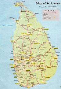 Carte routière du Sri Lanka avec les autoroutes, les routes principales et secondaires