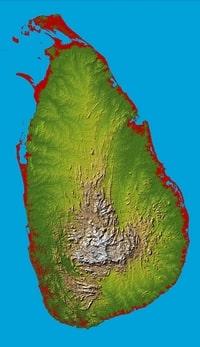 Grande carte du Sri Lanka topographique avec le relief