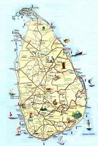 Carte du Sri Lanka avec la distance des villes depuis la capitale Colombo par la route
