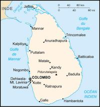 Carte du Sri Lanka avec les villes et les echelles en miles et en km