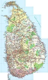 Carte du Sri Lanka avec les villes, les villages, les hopitaux, les aeroports et les rivieres