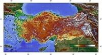 Carte de la Turquie avec l'altitude en mètre