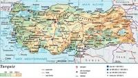 Carte Turquie avec l'altitude, les routes, les autoroutes, les sites touristiques et la taille des villes