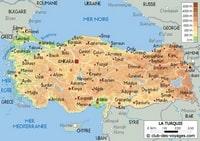 Carte de la Turquie avec la capitale et l'altitude en mètre