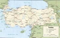 Carte Turquie avec la capitale, les routes et les voies ferrées
