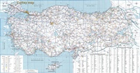 Grande carte de la Turquie avec les routes, les villes, les villages et de nombreuses informations touristiques