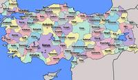 Carte de la Turquie avec les régions et la capitale