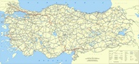 Carte routière Turquie avec les distances en km et les provinces