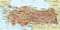 Carte de la Turquie avec la taille des villes et les sites touristiques