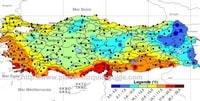 Carte de la Turquie avec les températures moyennes