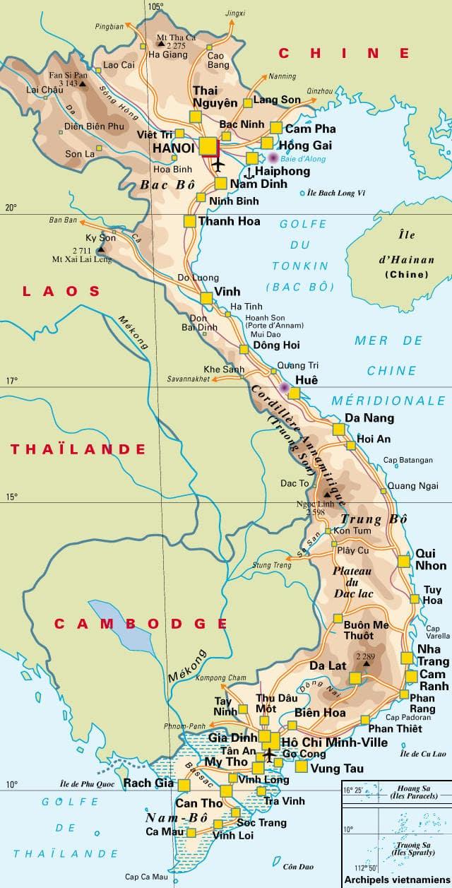 Carte géographique du vietnam détaillée | Trouver des idées pour