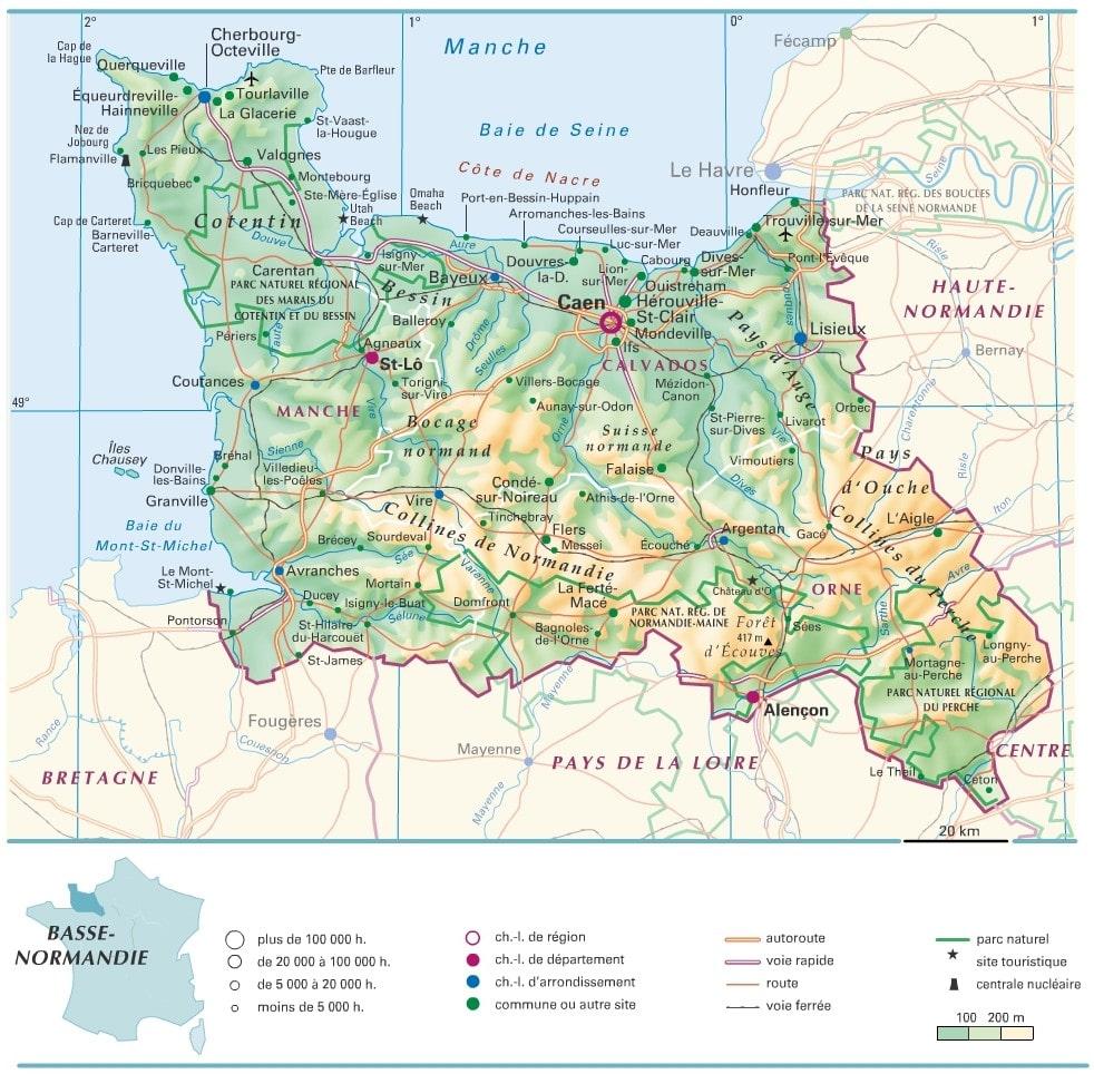Carte De La Basse Normandie Avec Les Villes