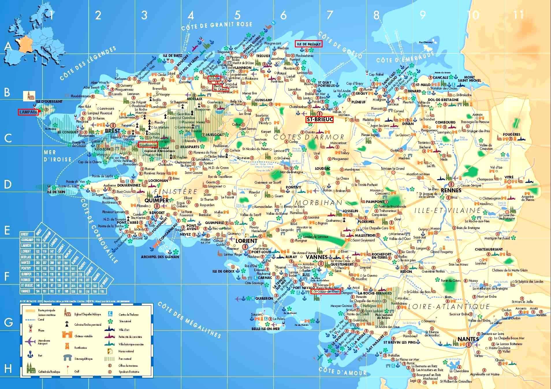 Infos sur carte touristique bretagne arts et voyages for Carte touristique