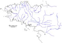 Carte de la Bretagne vierge avec les cours d'eau
