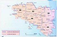 Carte de la Bretagne avec les départements, les districts et les villes