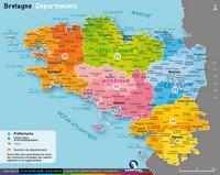 Carte de la Bretagne avec les départements, les préfectures et les chefs-lieux