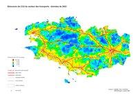 Carte de la Bretagne avec les émissions de CO2 du secteur des transports en 2003
