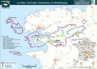 Carte de la Bretagne avec le Parc Naturel Régional d'Armorique