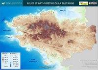 Carte de la Bretagne avec le relief, l'altitude et la profondeur