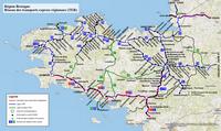 Carte de la Bretagne avec les trains, les chemins de fer et les gares TER