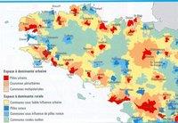Carte de la Bretagne avec le type d'espace urbain ou rural