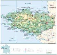 Carte de la Bretagne avec les villes, les villages, les routes, les autoroutes, le relief et l'altitude