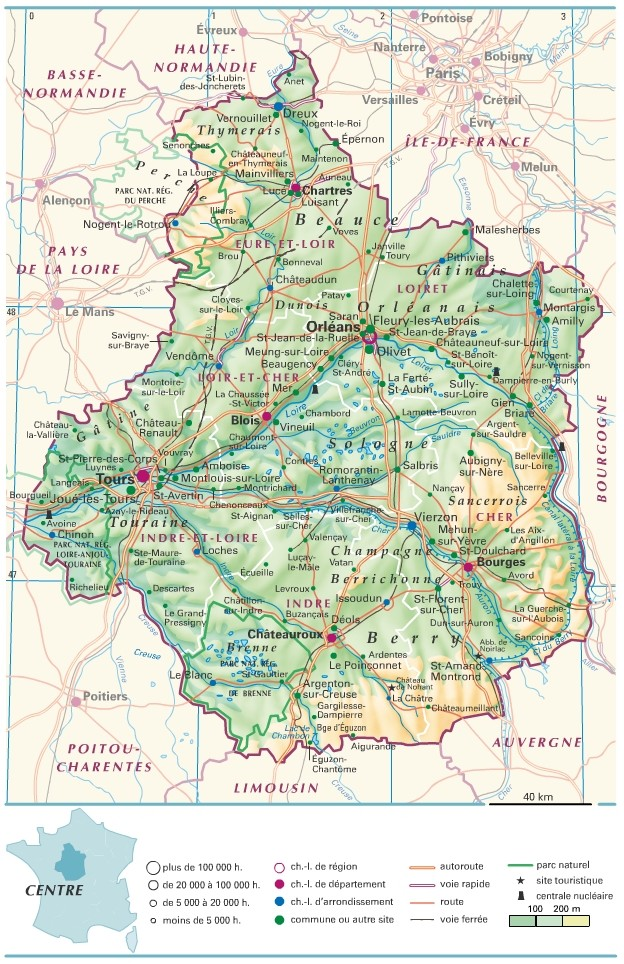 carte de la region centre - Image