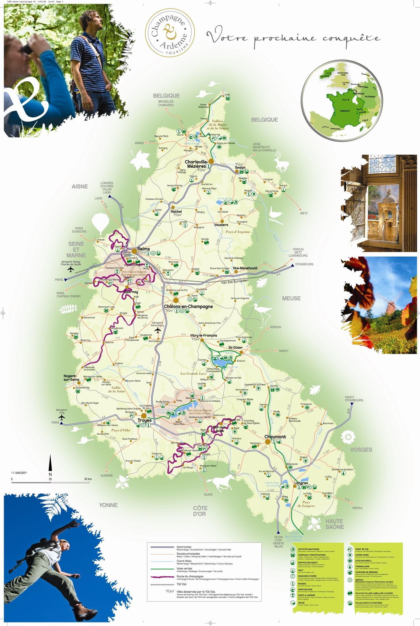 Champagne ardenne carte touristique voyages cartes - Office du tourisme champagne ...