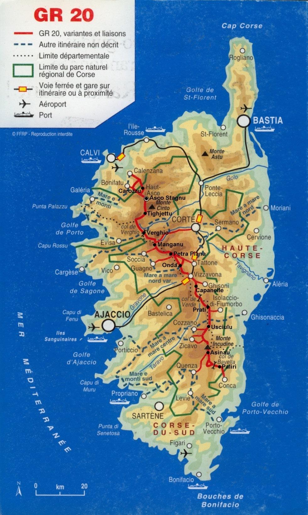 Plan Du GR20 En Corse