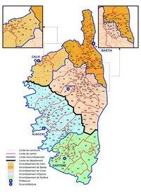 Carte de la Corse administrative avec les communes, les cantons, les arrondissements et les préfectures