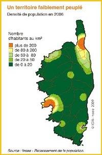 Carte de la Corse avec la densité de population en 2006