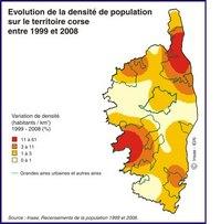 Carte de la Corse avec l'évolution de la densité de population de 1999 à 2008