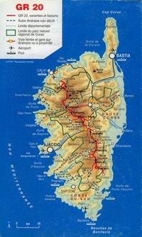 Carte de la Corse les parcs naturels et le GR20