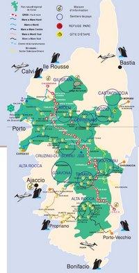 Carte de la Corse du GR 20 avec les sentiers de randonnée