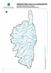 Carte de la Corse hydrographique avec les rivières et les cours d'eau